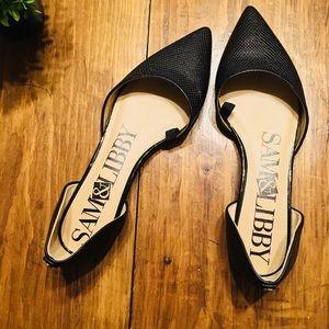 Sam & Libby size 7.5 black pointy toe flats